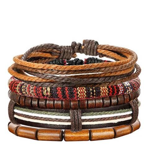 Stephen Oliver Multi Leather Woven Bracelet Set