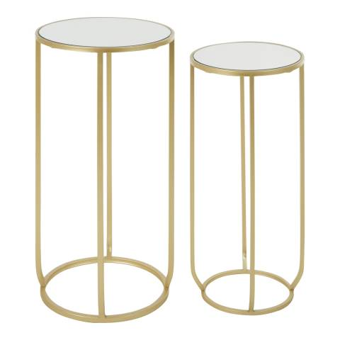 Fifty Five South Avantis Round Side Tables, Mirrored Tops / Champagne Finish Metal, Set of 2