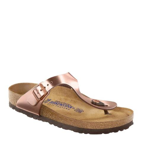 Birkenstock Metallic Copper Leather Gizeh Sandals