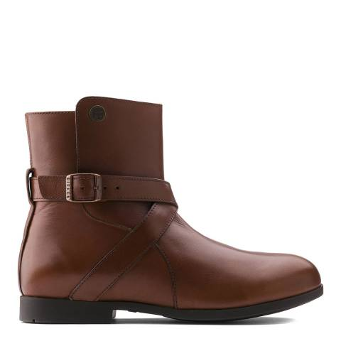 Birkenstock Brown Collins Natural Leather Ankle Boots