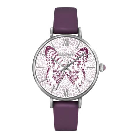 Lola Rose Butterfly Printed Dial Purple Strap Watch