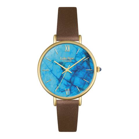Lola Rose Blue Magnesite Stone Dial Brown Strap Watch