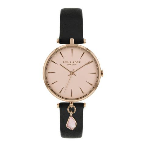 Lola Rose Rose Quartz Hanging Charm Black Strap Watch