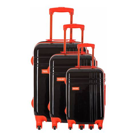 Travel One Black 8 Wheel Broadwood Suitcase Set of 3