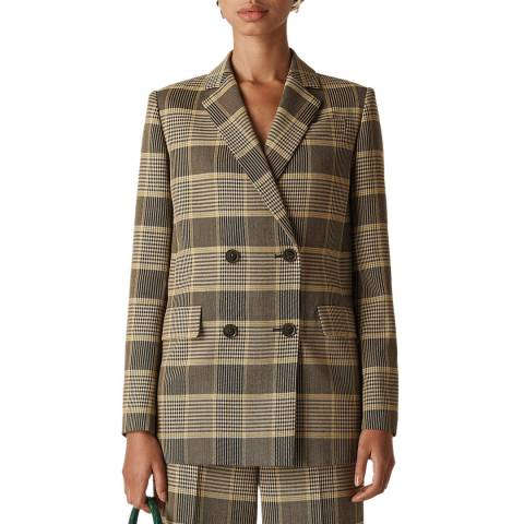 WHISTLES Multi Check Double Breasted Blazer