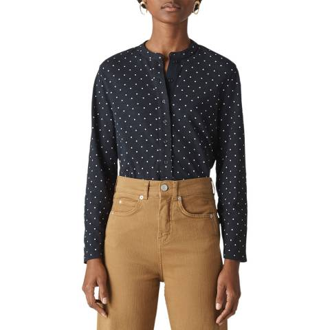 WHISTLES Navy Spot Cotton Jersey Shirt