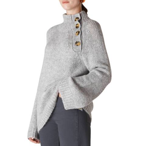 WHISTLES Grey Button Neck Jumper