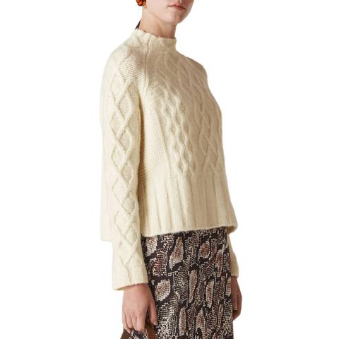 WHISTLES Ivory Modern Cable Jumper