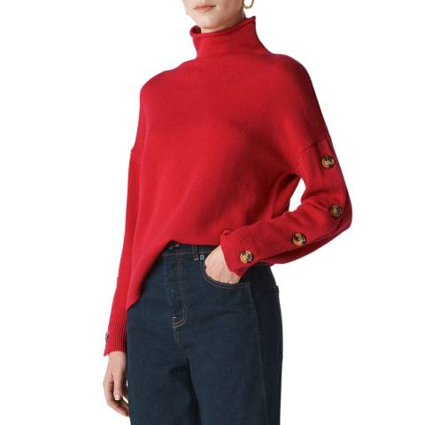WHISTLES Red Button Sleeve Wool/Cashmere Jumper