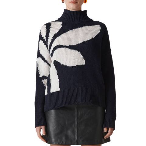 WHISTLES Navy Palm Intarsia Jumper