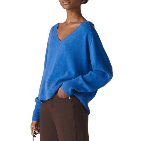 WHISTLES Blue Sustainable Cashmere Jumper