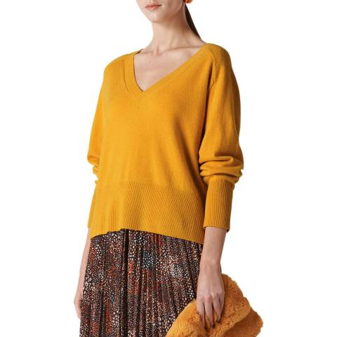 WHISTLES Yellow Sustainable Cashmere Jumper