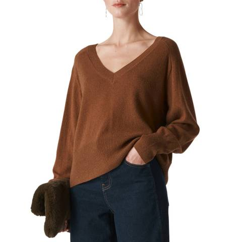 WHISTLES Camel Sustainable Cashmere Jumper