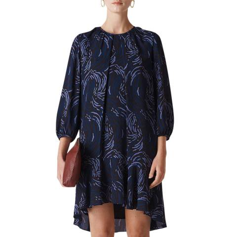 WHISTLES Navy Flowy Renata Reed Dress