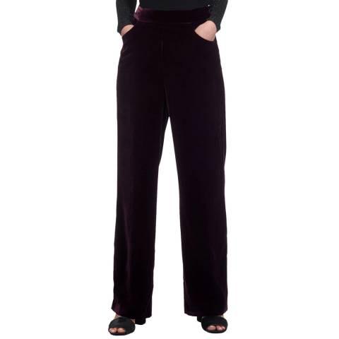 WHISTLES Purple Corinna Velvet Trousers
