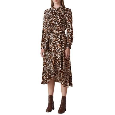 WHISTLES Brown Animal Print Esme Dress