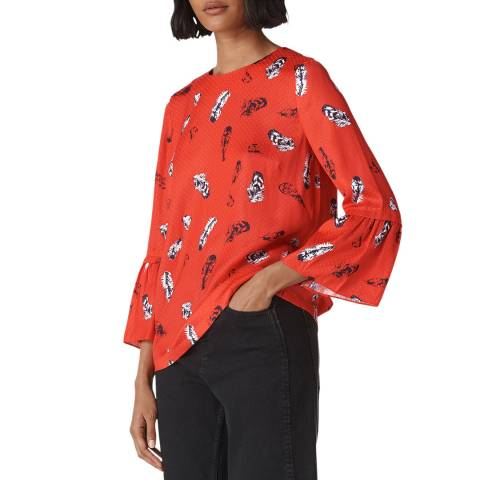 WHISTLES Multi Millie Feather Frill Top