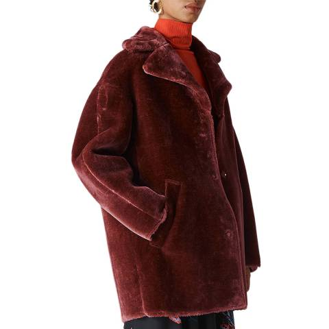 WHISTLES Brown Faux Fur Cocoon Coat