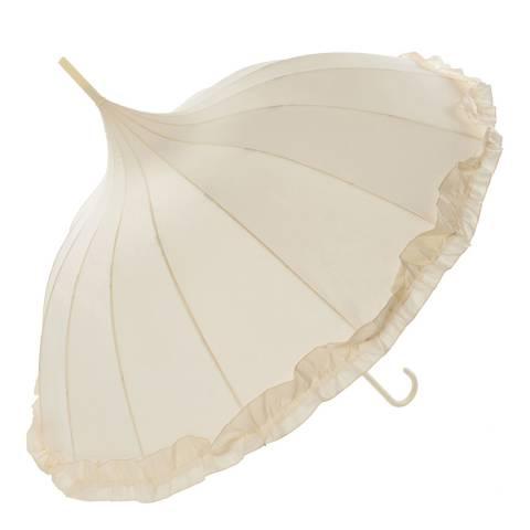 Susino Ivory Pagoda Frill Umbrella