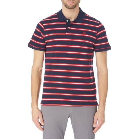 Crew Clothing Navy/Red/White Camborne Stripe Jersey Polo