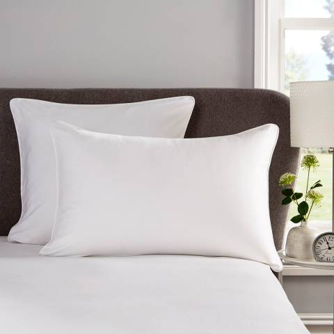 Hotel Living Piped 400TC Pair of Square Pillowcases, White