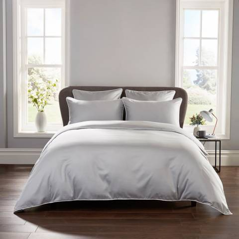 Hotel Living Piped 400TC Double Duvet Cover Set, Grey/White