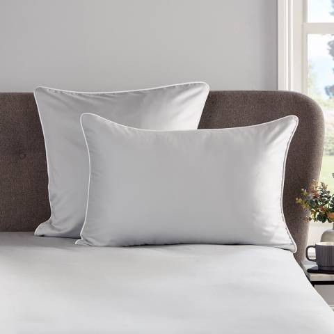 Hotel Living Piped 400TC Pair of Square Pillowcases, Grey/White