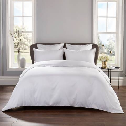 Hotel Living Piped 400TC Double Duvet Cover Set, White/Grey