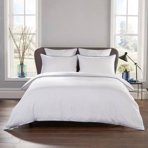Hotel Living Piped 400TC Double Duvet Cover Set, White/Navy