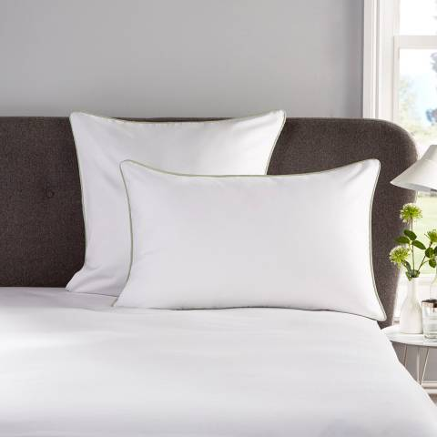 Hotel Living Piped 400TC Pair of Square Pillowcases, White/Sea Foam