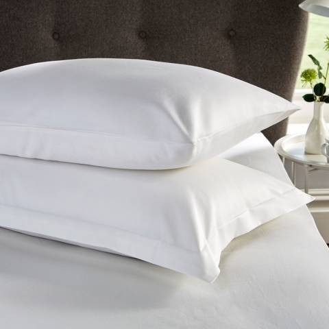 Hotel Living 400TC Pair of Oxford Pillowcases, White