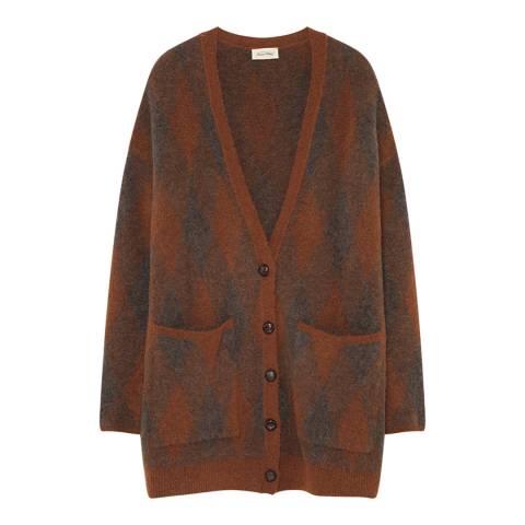 American Vintage Brown Diamond Check Wool Blend Cardigan