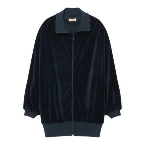 American Vintage Navy Velvet Zip Sweatshirt