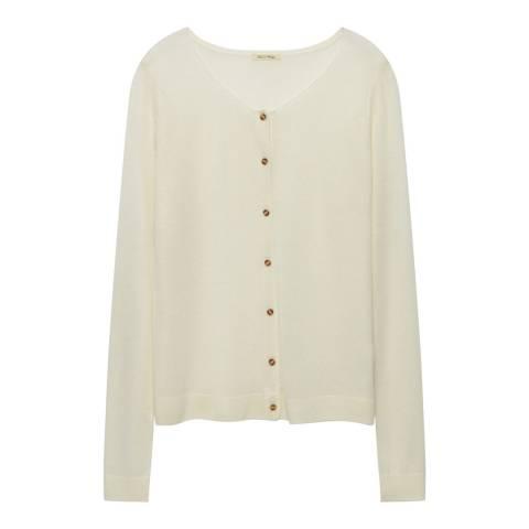 American Vintage White Wool Blend Knit Cardigan