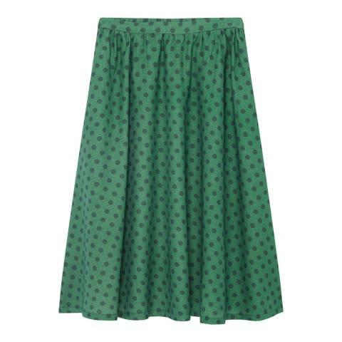 American Vintage Navy Flared Dot Cotton/Wool Skirt