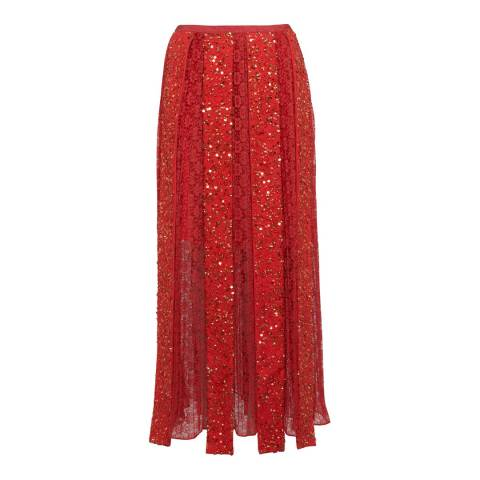 French Connection Red Diana Sequin Maxi Skirt