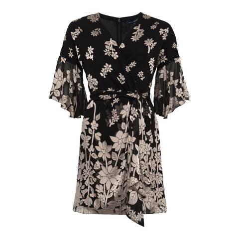French Connection Black/Cream Elsie Satin Devore Dress