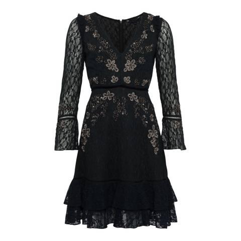French Connection Black Bella Sparkle Lace Dress