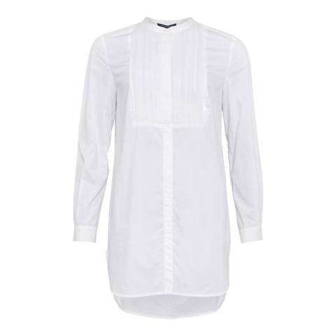 French Connection White Southside Cotton Pleat Shirt