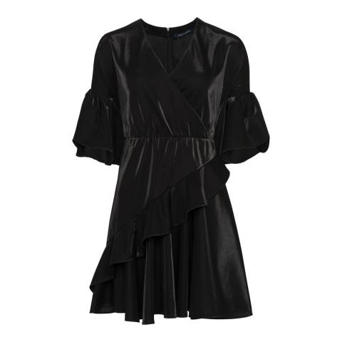 French Connection Black Ellette Shimmer Wrap Dress