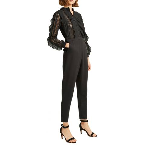 French Connection Black Patricia Lace Jumpsuit