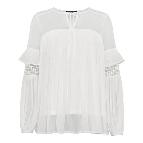 French Connection White Zana Sheer Blouse
