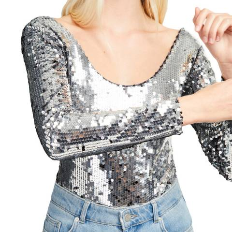 French Connection Silver Zena Sequin Jersey Body