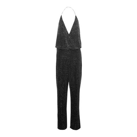 French Connection Black/Silver Clara Embellished Jumpsuit