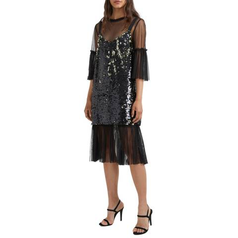 French Connection Black Eve Sparkle Layered Dress