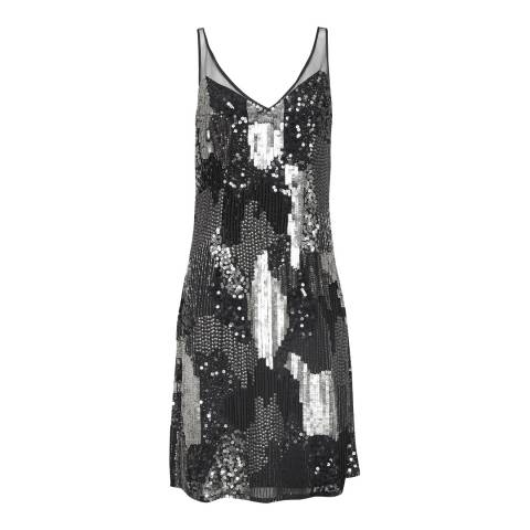 French Connection SIlver Astara V Neck Dress