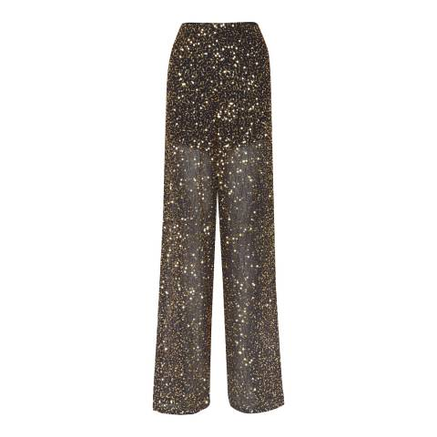 French Connection Black Aida Sequin Wide Leg Trousers