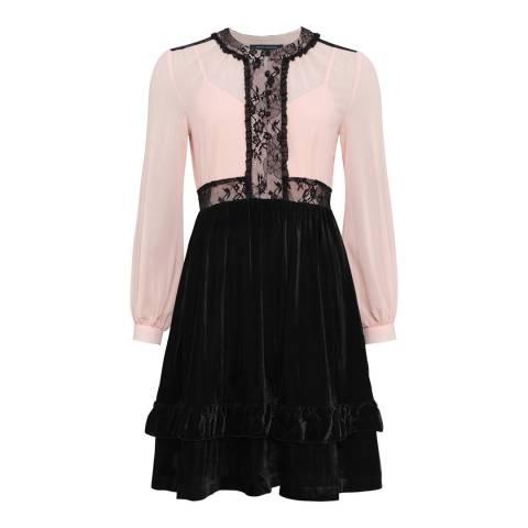 French Connection Black Ednae Velvet Lace Mix Dress