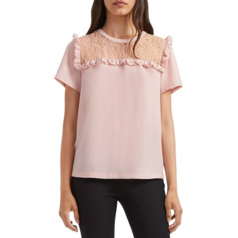 French Connection Pink Crepe Light Lace Top