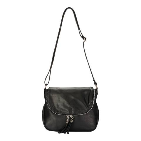 Giulia Massari Black Leather Shoulder Bag